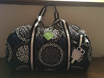 NWT Vera Bradley Large Duffel CANTERBERRY COBALT Travel Luggage $96