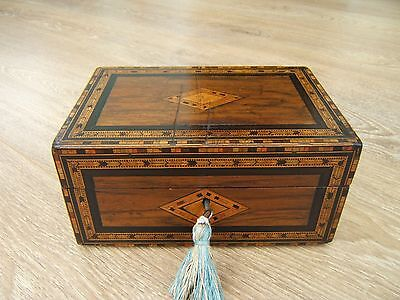 Lovely 19C Figured Inlaid Walnut Antique Jewellery Box - Fab Interior