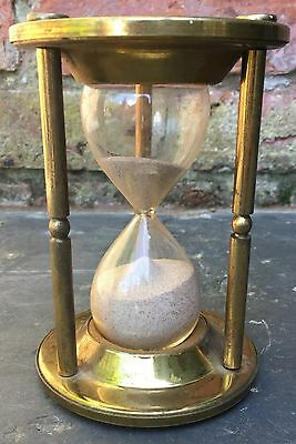 Large Reproduction Antique Brass 'Hourglass' Timer - Ship's Watch Sand Timer