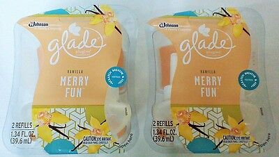 4 Glade Plugins Vanilla Merry Fun Scented Oil Limited Edition 4 Refills Warmers