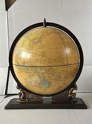 "Vintage CRAM'S Imperial 12"" WORLD GLOBE 2 Atlas TITAN Figures GREEK MYTHOS"