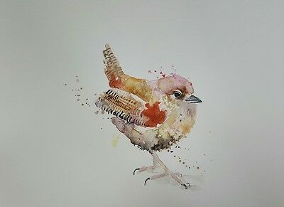 """ELLE SMITH ART. NEW & ORIGINAL SIGNED LARGE WATERCOLOUR PAINTING. 16x12"""". A WREN"""