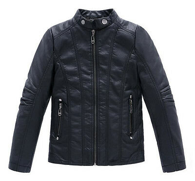 Children Coats And Jackets Boys clothing Leather Casual Turn-down Collar Jacket