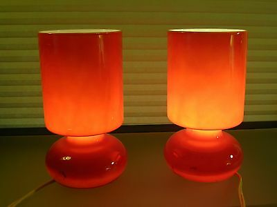 Mid Century Modern Cased Glass Table Lamps Hooped Panton Era 60's Style PAIR