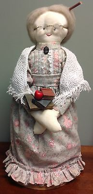"Primitive Handmade Teacher Doll Standing 17"" Height Teacher Gift Country Decor"