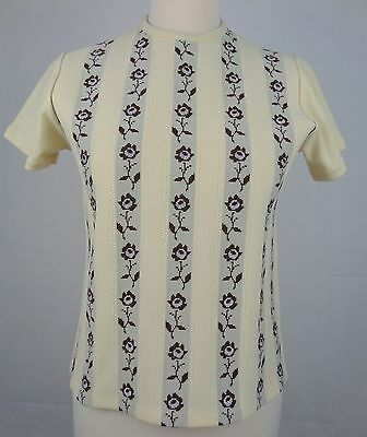 Ladies 60s/70s Floral Stripe Short Sleeve Poly Knit Top Sz 10/12 Mod Twee  DY62