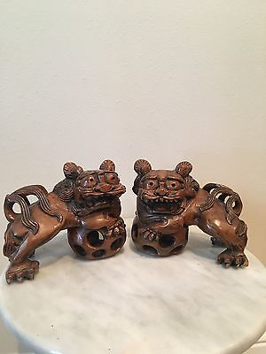 Pair Hand Carved Chinese Boxwood Foo Fu Dogs