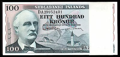 Iceland 100 Krn 1961 Bundle Unc Consecutive Pack 100 Pcs P.44 Sign 38