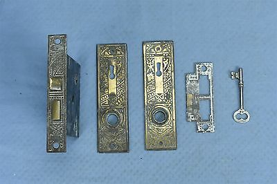 Antique VICTORIAN MORTISE DOOR LOCK SET KEY BACKPLATE STRIKER HARDWARE OLD 03548