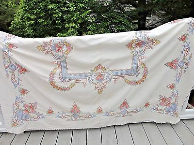 VTG Cross Stitch Embroidery Crocheted Tablecloth Large Handmade 66 x 80