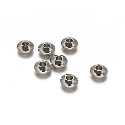 100pcs 304 Stainless Steel Metal Beads Flat Round Smooth Tiny Loose Spacer 6x3mm