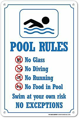 """Swimming Pool Rules Safety Sign - 14"""" X 10"""" - .55 Heavy Duty Plastic - Ma... NEW"""