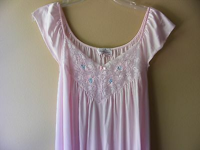 Vintage Vanity Fair Pink Nylon Gown Nightgown Sleeveless Lace Extra Large XL USA