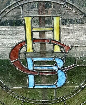 Antique Holyoke Ma Boys Club Architectural Salvage Stained Glass Window