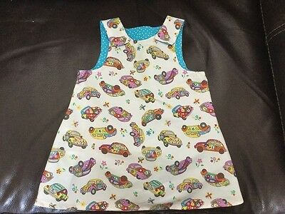 handmade clothes girls beetle car fabric pinafore dress,