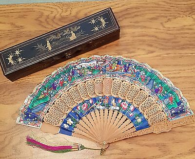 Antique Chinese Cabriolet Applied Faces Hand Fan, Ca. 1860-1880