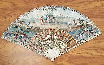 Outstanding Antique Hand Fan, Late 1700s, 2-Sided, Gorgeous Painted Sticks