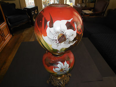 Gone With the Wind HAND PAINTED Hurricane Oil Lamp Victorian Era