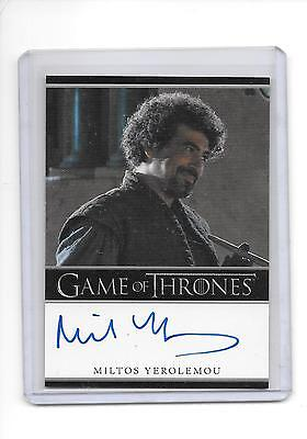 Game of Thrones Season 1 Miltos Yerolemou as Syrio Forel Bordered Auto Autograph