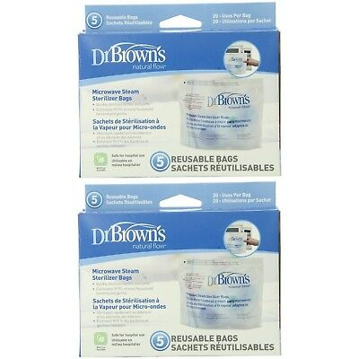 Dr. Brown`s Microwave Steam Sterilizer Bags - 2 Packs of 5 Count = 10 Bags NEW