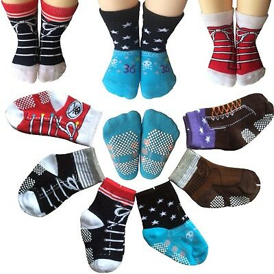 Todder 6 Pairs Non Sikd Shoe Socks Infant Baby Boy Anti Slip Cotton Cozy ... NEW