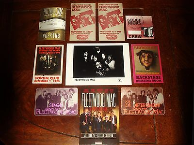 Lot Of 10 Fleetwood Mac Concert Memorabilia - Backstage Passes, Handbill, Photo