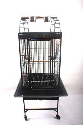 NEW New Large Black Arched Roof Pet Bird Parrot Canary Cage Castor Wheels