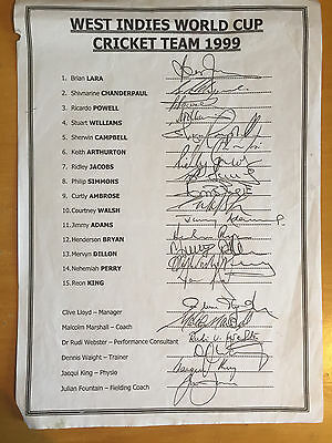 1999 West Indies World Cup Cricket Team Signed x all 21 on official Team sheet