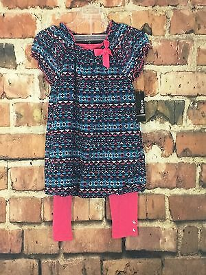 George Girls 2 Piece Set Size Large 10/12 Pink Leggings With Geometric Print Top