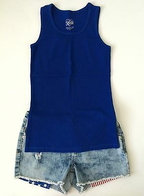 Justice Girls Distressed 4th Of July Denim Jean Shorts + Blue Tank Top Size 10