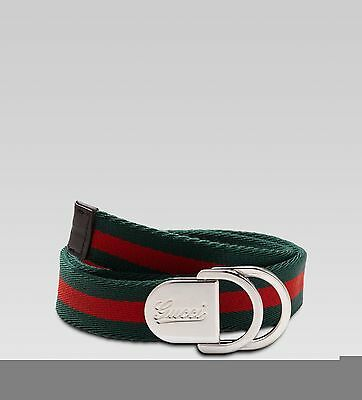 NWT NEW Gucci kids boys girls red and green web stripe belt S 258158