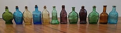 Collectible Mini colored glass bottles set of 12 Wheaton & Made in Taiwan