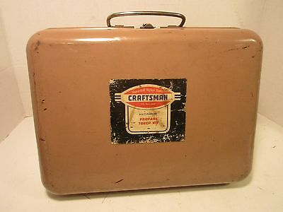 Vintage Sears Craftsman Propane Torch Kit Metal Carry Case & Torch Heads,Solder
