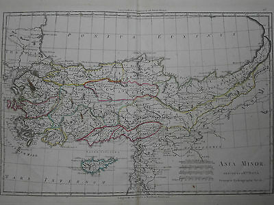 1787 ASIA MINOR ANTIQUE MAP HANDCOLORED OUTLINES 23x34cm CYPRUS PONT EUXIN
