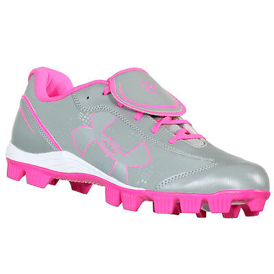 UNDER ARMOUR GLYDE RM CC GREY Pink WOMENS SOFTBALL SHOES DISPLAY MODEL 7 M