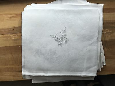 "17 Large Antique Damask Dinner Napkins 31"" Square - Embroidered Butterfly"