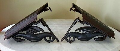 Vintage Pair Cast Iron Trolley Step Dragon Grates
