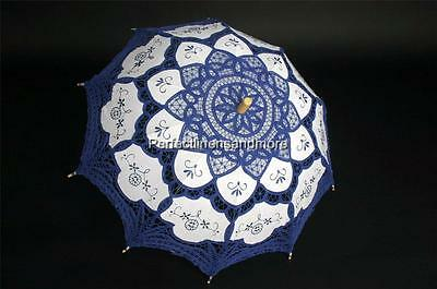 Dark Blue Battenburg Lace and embroidery hand made Parasol