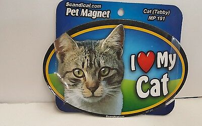 "Scandical I Love My TABBY CAT  Laminated Car Pet Magnet 4"" x 6"" MP 191"