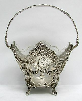 MAGNIFICENT VINTAGE GERMAN SILVER & CRYSTAL w SWANS & ROSES RETICULATED BASKET