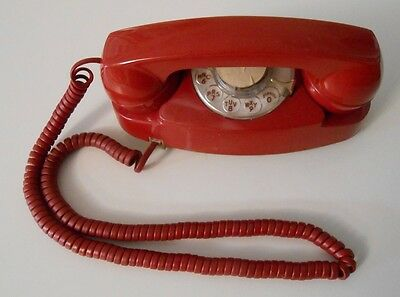 Vintage Western Electric Bell Princess Telephone Rotary Dial Red