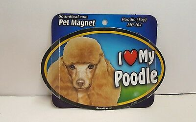 "Scandical I Love My TOY POODLE Dog Laminated Car Pet Magnet 4"" x 6"" MP 164"