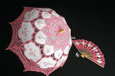 Matching Set of Handmade Dark Pink Lace Parasol and Lace fan