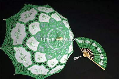 Handmade Green Lace Parasol and Lace fan set