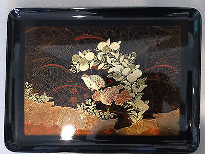 Antique Vintage Japanese Gold Lacquer Tray With Quail Birds
