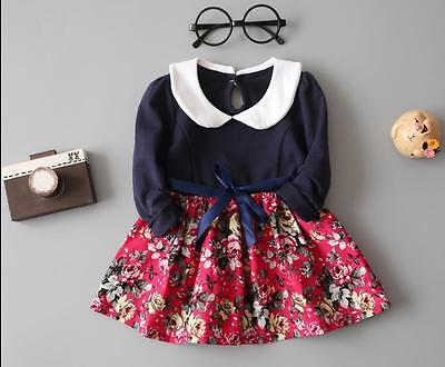 1pc infant baby girls clothes long sleeve dress daily party TUTU dress floral