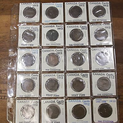 Page Lot Of 1912 Canada Large Cents 20 Canadian Copper Coins VF - F  Mixed
