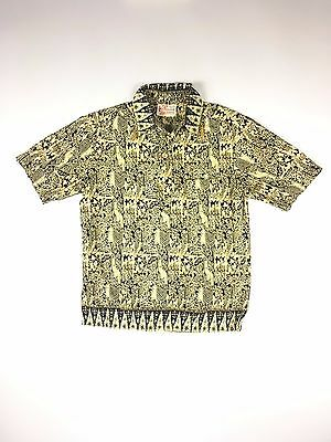 50s Sears Hawaiian Fashions Shirt Floral Vintage Popover Pullover Wood Button