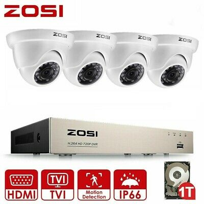 ZOSI 720P 8CH 1.0MP DVR 1080N Waterproof 36IR CCTV Security Camera System 1T HDD