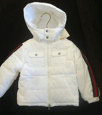 NWT NEW Gucci boys white GG jacquard puffer jacket 2y 3y 263132